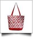 Chevron Ikat Print Tote Bag Embroidery Blanks - RED - CLOSEOUT