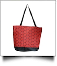 Jumbo Dots Print Tote Bag Embroidery Blanks - BLACK/RED - CLOSEOUT