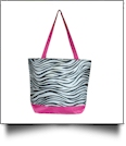 Zebra Print Tote Bag Embroidery Blanks - HOT PINK TRIM