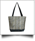 Leopard Print Tote Bag Embroidery Blanks - BLACK TRIM