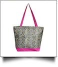 Leopard Print Tote Bag Embroidery Blanks - HOT PINK TRIM