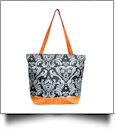 Damask Print Tote Bag Embroidery Blanks - ORANGE TRIM - CLOSEOUT
