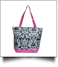 Damask Print Tote Bag Embroidery Blanks - HOT PINK TRIM