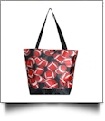 Football Print Tote Bag Embroidery Blanks - BLACK TRIM - CLOSEOUT