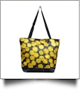 Softball Print Tote Bag Embroidery Blanks - BLACK TRIM