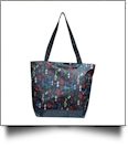 Musical Notes Print Tote Bag Embroidery Blanks - BLACK TRIM - CLOSEOUT