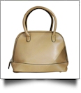 Luxurious Shell Faux Leather Handbag Purse - KHAKI - CLOSEOUT