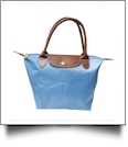 Medium Designer-Inspired Foldable Microfiber Travel Bag with Faux Leather Strap & Trim - AZURE BLUE