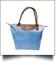 Large Designer-Inspired Foldable Microfiber Travel Bag with Faux Leather Strap & Trim - AZURE BLUE