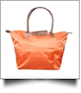 Large Designer-Inspired Foldable Microfiber Travel Bag with Faux Leather Strap & Trim - TANGERINE