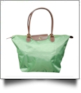 Large Designer-Inspired Foldable Microfiber Travel Bag with Faux Leather Strap & Trim - GREEN APPLE