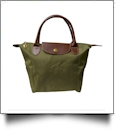 Small Designer-Inspired Foldable Microfiber Travel Bag with Faux Leather Strap & Trim - OLIVE GREEN - CLOSEOUT