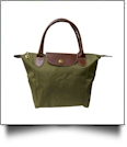 Medium Designer-Inspired Foldable Microfiber Travel Bag with Faux Leather Strap & Trim - OLIVE GREEN