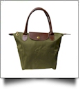 Large Designer-Inspired Foldable Microfiber Travel Bag with Faux Leather Strap & Trim - OLIVE GREEN