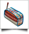 Aztec Print Cosmetic Bag Embroidery Blanks - TURQUOISE TRIM - CLOSEOUT