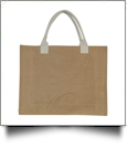 White Handle Jute Burlap Tote Bag Embroidery Blanks - CLOSEOUT