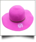 Kid's Wide Brim Floppy Hat Embroidery Blanks - HOT PINK/BROWN