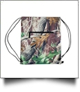 Natural Camo Print Gym Bag Drawstring Pack Embroidery Blanks - BLACK TRIM