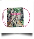 Natural Camo Print Gym Bag Drawstring Pack Embroidery Blanks - HOT PINK TRIM