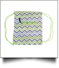 Chevron Print Gym Bag Drawstring Pack Embroidery Blanks - GRAY/LIME TRIM - CLOSEOUT
