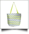 Chevron Print Tote Bag Embroidery Blanks - GRAY/LIME TRIM - CLOSEOUT