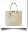 Luxurious Scalloped Faux Leather Purse - CREAM
