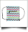 Chevron Print Gym Bag Drawstring Pack Embroidery Blanks - MULTI-COLOR