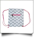 Chevron Print Gym Bag Drawstring Pack Embroidery Blanks - GRAY/HOT PINK TRIM