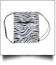 Zebra Print Gym Bag Drawstring Pack Embroidery Blanks - BLACK TRIM