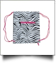 Zebra Print Gym Bag Drawstring Pack Embroidery Blanks - HOT PINK TRIM