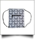 Anchor Print Gym Bag Drawstring Pack Embroidery Blanks - GRAY/BLACK TRIM
