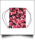 Football Print Gym Bag Drawstring Pack Embroidery Blanks - BLACK TRIM