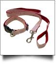 """Seersucker 48"""" Leash & Adjustable Collar Set - RED"""