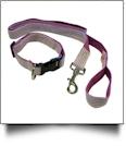 """Seersucker 48"""" Leash & Adjustable Collar Set - PURPLE"""
