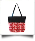Anchor Print Tote Bag Embroidery Blanks - HOT PINK/BLACK TRIM