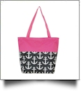 Anchor Print Tote Bag Embroidery Blanks - BLACK/HOT PINK TRIM