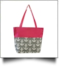 Anchor Print Tote Bag Embroidery Blanks - GRAY/HOT PINK TRIM