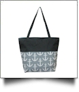 Anchor Print Tote Bag Embroidery Blanks - GRAY/BLACK TRIM