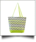 Chevron Print Tote Bag Embroidery Blanks - GRAY/LIME TRIM