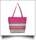 Aztec Print Tote Bag Embroidery Blanks - HOT PINK TRIM - CLOSEOUT