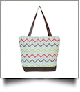 Chevron Print Tote Bag Embroidery Blanks - MULTI-COLOR/BROWN TRIM