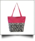 Greek Key Print Tote Bag Embroidery Blanks - HOT PINK TRIM