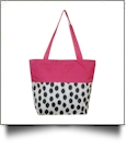Polka Dot Ikat Print Tote Bag Embroidery Blanks - BLACK/HOT PINK TRIM
