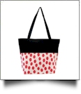Polka Dot Ikat Print Tote Bag Embroidery Blanks - HOT PINK/BLACK TRIM - CLOSEOUT