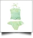 The Coral Palms® Blank Girls Gingham Ruffle Bikini Swimsuit - LIME