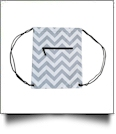 Chevron Print Gym Bag Drawstring Pack Embroidery Blanks - GRAY/BLACK TRIM