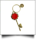 Enamel Skeleton Key Chain in Antique Bronze with Heart Accents - RED - CLOSEOUT