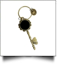 Enamel Skeleton Key Chain in Antique Bronze with Heart Accents - BLACK - CLOSEOUT