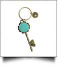 Enamel Skeleton Key Chain in Antique Bronze with Heart Accents - MINT - CLOSEOUT