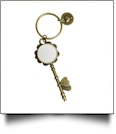 Enamel Skeleton Key Chain in Antique Bronze with Heart Accents - WHITE - CLOSEOUT